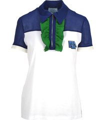 prada prada ruffled detail polo shirt