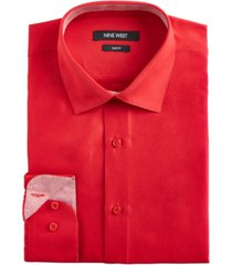 nine west men's slim-fit wrinkle-free performance stretch samba red dress shirt