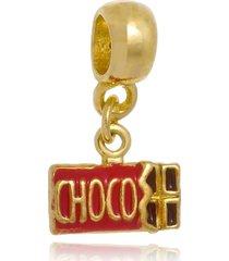 berloque boca santa semijoias barra de chocolate  ouro amarelo - amarelo - feminino - dafiti