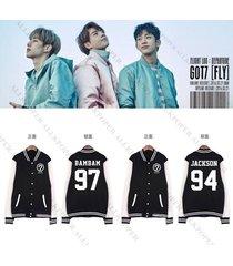kpop got7 fly concert baseball uniform unisex varsity jacket coat jackson mark