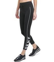 dkny sport women's logo-tape drawstring 7/8 leggings