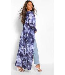 tie-dye maxi kimono, marineblauw