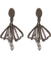 pavé petal impatiens clip earrings