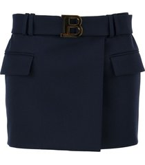 balmain short blue wool low-rise skirt