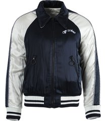navy and white reversible souvenir jacket