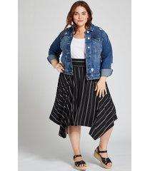 lane bryant women's striped pull-on skirt 22/24 herringbone stripe