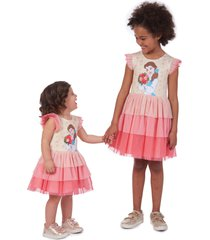 toddler girl's pippa & julie x disney belle tiered dress, size 2t - pink
