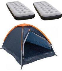 barraca camping nautika panda + 2 colchões solteiro inflável ecológico fit