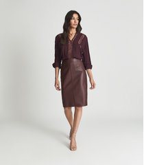 reiss reagan - leather pencil skirt in berry, womens, size 2