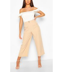 button front pocket side longline culottes, sand