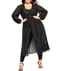 plus size women's city chic glitter duster jacket