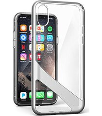 iphone x crystal clear case w/ screen protector, encased [reveal series] slim fi