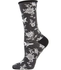 natori mariposa fashion crew socks, women's, black, silk natori