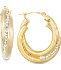 signature gold crystal interlocked hoop earrings in 14k gold over resin