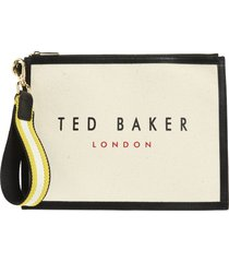 ted baker london canvas wristlet in mid yellow at nordstrom