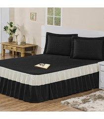 colcha / cobre leito agatha com 2 porta travesseiros casal casa dona preto - incolor - dafiti