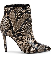 dayton embossed snakeskin-print booties
