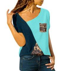 bolsillo multicolor diseño bloque de color redondo cuello camiseta de manga corta