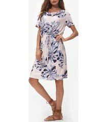 floral print cowl neck drawstring dress