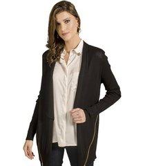 casaco tricot zíper alphorria feminina