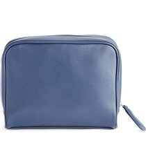 royce new york men's contemporary leather toiletry bag - navy blue