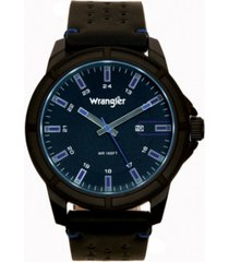 wrangler men's watch 48mm ip black case with black dial, blue index markers, sand satin dial, analog, date function, blue second hand, black strap with blue accent stitch