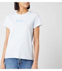 a.p.c. women's logo stamp t-shirt - light blue - m