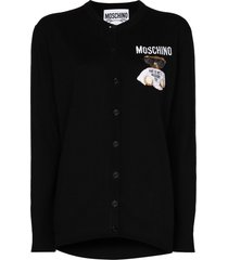 moschino embroidered teddy-patch cardigan - black