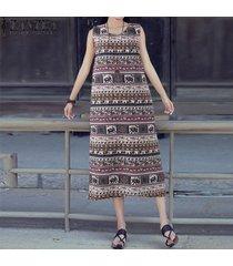 zanzea vestido floral sin mangas de fiesta de playa de verano de boho para mujer -negro