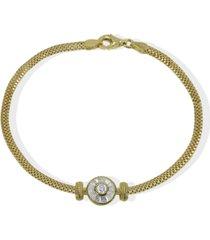 argento vivo cubic zirconia link bracelet in 18k gold-plated sterling silver