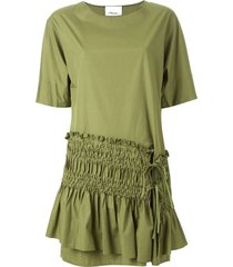 3.1 phillip lim ruched panel shift dress - green