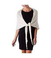 100% alpaca shawl, 'andean royalty in ivory' (peru)