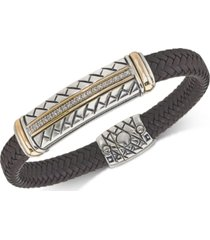 esquire men's jewelry diamond brown woven leather bracelet (1/4 ct. t.w.) in sterling silver & 14k gold, created for macy's