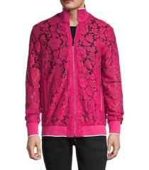 valentino men's lace bomber jacket - raspberry - size 44 (34)