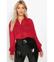 plus heart print mesh oversized shirt, wine