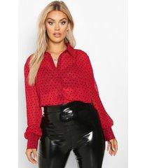 plus heart print mesh oversized shirt, wine