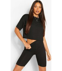 tall oversized geribbeld t-shirt en shorts set, zwart