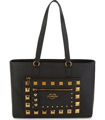 embellished faux leather tote