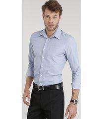 camisa masculina comfort estampada manga longa azul claro