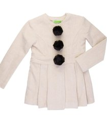 casaco lã com pompom removível gingga baby e kids pérola lara