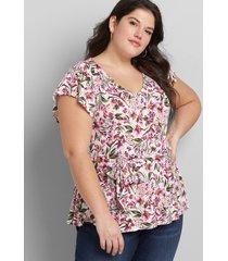lane bryant women's flutter-sleeve belted top 34/36 evelyn floral