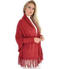 casaco livora capa kimono tricot franjas feminina