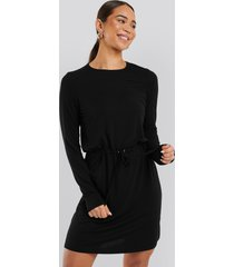na-kd drawstring jersey dress - black