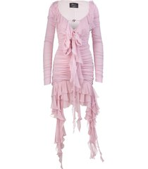 blumarine short dress in pink pleated jersey with ruffles