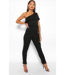 one shoulder ruffle belted jumpsuit, black