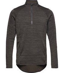 grid halfzip t-shirts long-sleeved zwart craft