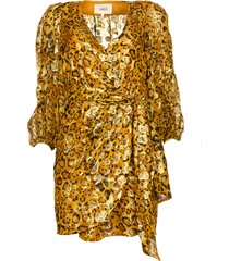 zijden wikkeljurk met luipaardprint ginger  goud
