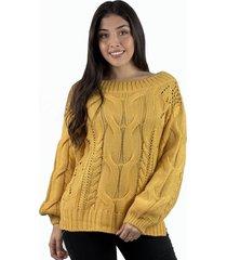 sweater lana trenzado boho mostaza enigmática boutique