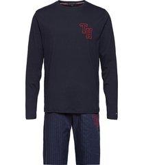 ls pant woven set pyjama blauw tommy hilfiger