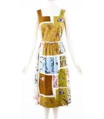 oscar de la renta oscar de la renta floral patchwork multicolor cotton belted dress multicolor sz: s